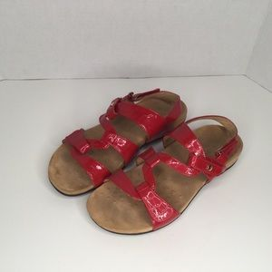 Vionic red patent comfortable sandals.